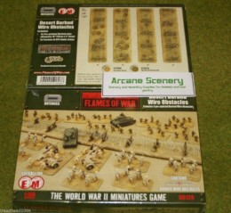 Flames of War DESERT BARBED WIRE OBSTACLES tabletop terrain 15mm BB129