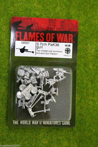 Flames of War GERMAN 3.7 PAK 36 Gun & Crew x 2 15mm GE501