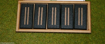 MDF laser cut MOVEMENT TRAY  for (5×1) 25mm x 50mm Cavalry Bases or (5×2) 25mm
