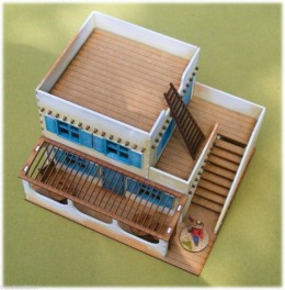 Old West Cowboy Building ADOBE 2 FLOOR CANTINA with stairs 25mm, 28mm Terrain, A008