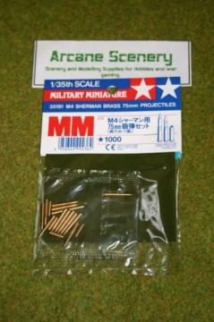 Tamiya US M4 SHERMAN BRASS 75mm PROJECTILES 1/35 Scale  Kit 35191