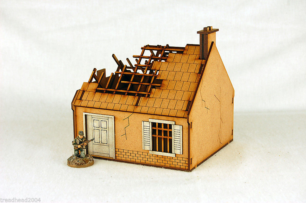 Ww2 Europe Destroyed Single Storey House N022 28mm Laser